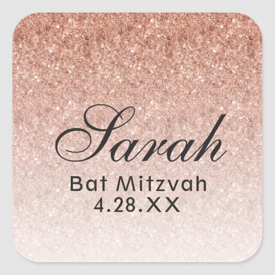 Rose Gold Omber Glitter Favour Tag