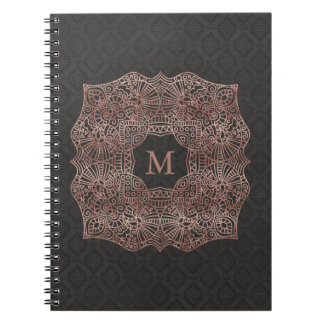 Rose Gold on Black Personalized Monogram Notebook