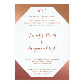 Rose Gold on Textured Back Wedding Invitation