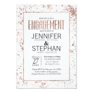 Rose Gold Paint Splatters Engagement Party Invites