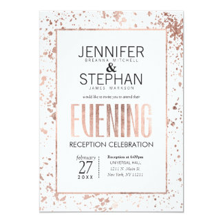 Rose Gold Paint Splatters Evening Reception Invite