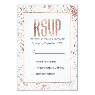 Rose Gold Paint Splatters RSVP Cards
