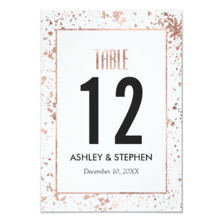 Rose Gold Paint Splatters Table Numbers