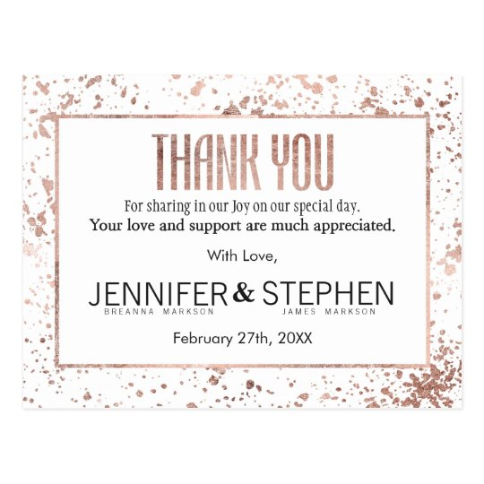 Rose Gold Paint Splatters Thank You Postcards