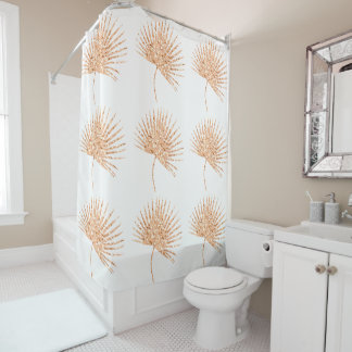 Rose Gold Palm Leaf Tropical Glam Metallic Shower Curtain