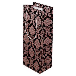 Rose Gold & Peach glitter and black floral damask Wine Gift Bag