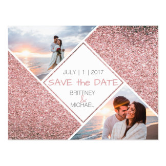 Rose Gold Photo | Save the Date Postcard