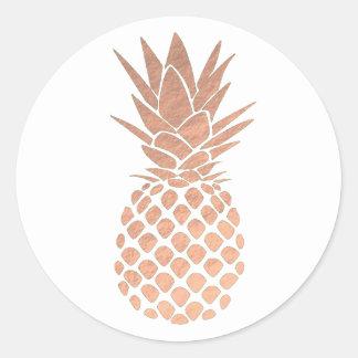 rose gold pineapple classic round sticker