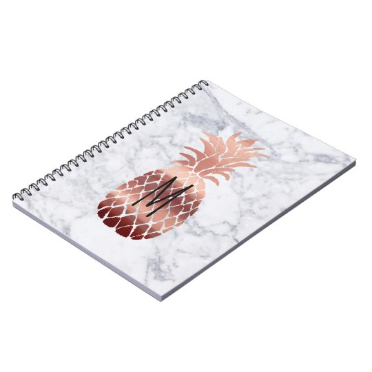 rose gold pineapple monogram spiral notebook
