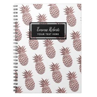 Rose Gold Pineapple Pattern Elegant Notebook