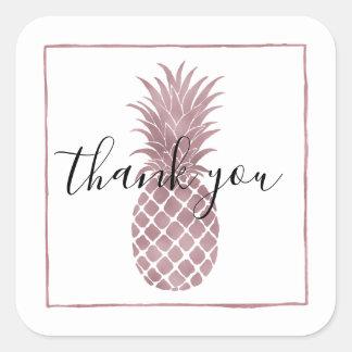 Rose Gold Pineapple Square Sticker
