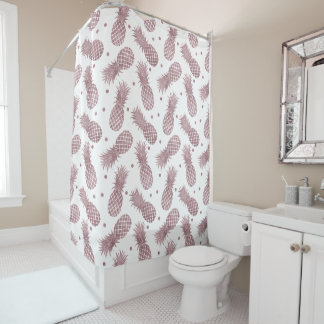 Rose Gold Pineapples Shower Curtain