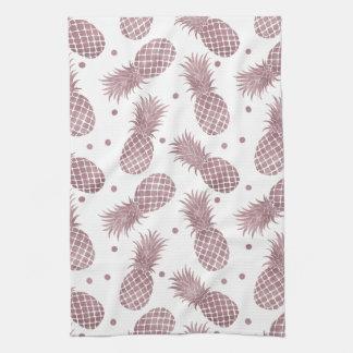 Rose Gold Pineapples Tea Towel
