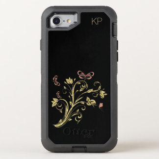 Rose Gold Pink Butterfly Black with Monogram OtterBox Defender iPhone 7 Case
