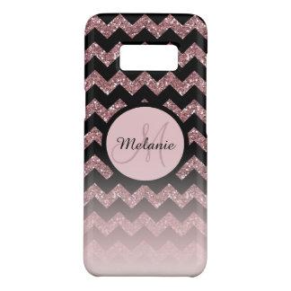 Rose Gold Pink Glitter Chevron Monogram Case-Mate Samsung Galaxy S8 Case