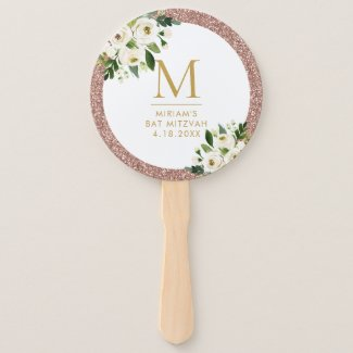Rose Gold Pink Glitter Floral Monogram Hand Fan