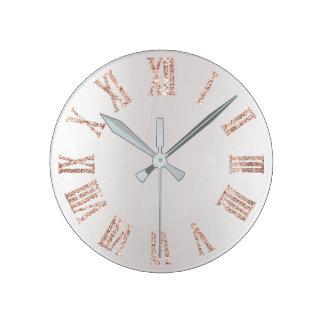 Rose Gold Pink Glitter Gray Silver  Minimal Metal Round Clock
