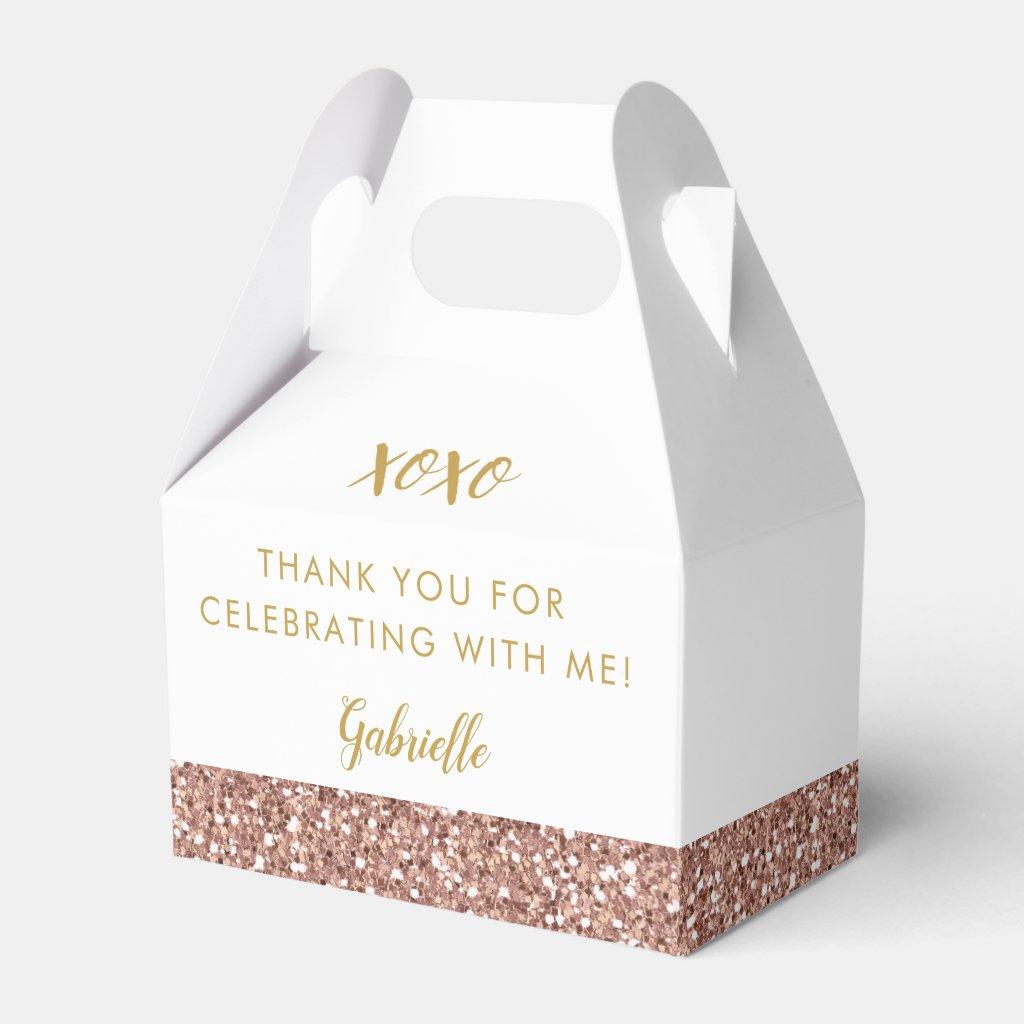Rose Gold Pink Glitter Modern Birthday Mitzvah Favour Box
