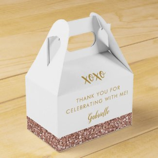 Rose Gold Pink Glitter Modern Birthday Mitzvah Favour Box
