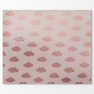Rose Gold Pink Pastel Claud Princess Girly Wrapping Paper