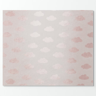 Rose Gold Pink Powder Claud Princess New Baby Wrapping Paper