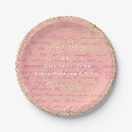 Rose Gold Pink Salmon Vintage Wreath 7 Inch