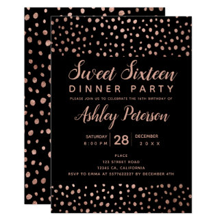 Rose Gold polka dot typography Sweet 16 party Card