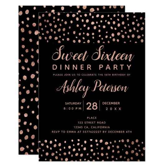 Rose Gold polka dot typography Sweet 16 party