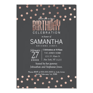 Rose Gold Polka Dots and Charcoal Black Birthday Card