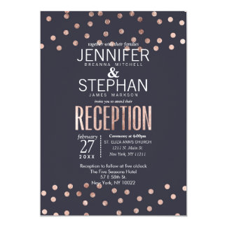 Rose Gold Polka Dots and Navy Blue Reception Card