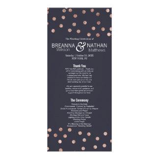 Rose Gold Polka Dots and Navy Blue Wedding Program Rack Cards