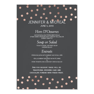 Rose Gold Polka Dots Charcoal Black Wedding Menu Card