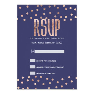 Rose Gold Polka Dots Light Navy Blue RSVP Cards