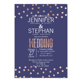 Rose Gold Polka Dots Light Navy Blue Wedding Card