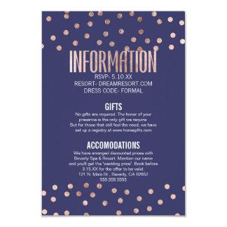 Rose Gold Polka Dots Light Navy Blue Wedding Card