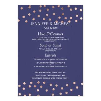 Rose Gold Polka Dots Light Navy Blue Wedding Menu Card
