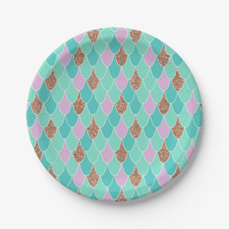 Rose Gold Purple Mermaid Party Paper Plates