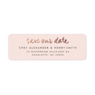 Rose gold | Save the date return address label