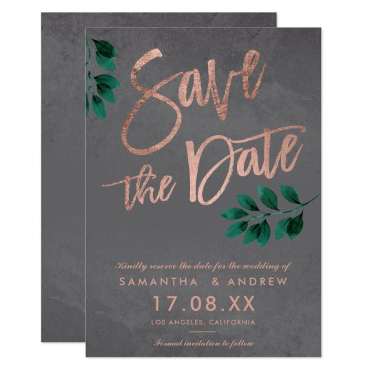 Rose gold script green leaf cement save the