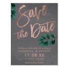 Rose gold script green leaf cement save the date postcard