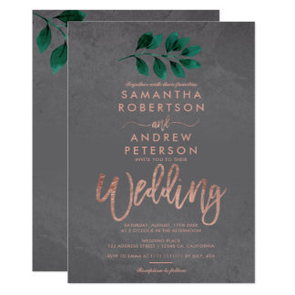 Rose gold script green leaf cement wedding card