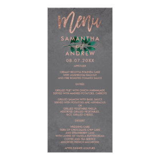 Rose gold script green leaf cement wedding menu