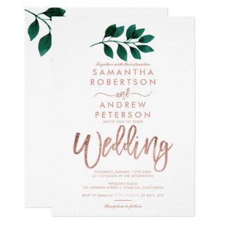 Rose gold script green leaf white wedding card