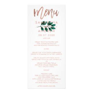 Rose gold script green leaf white wedding menu