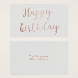 "Rose Gold Script ""Happy Birthday"" Classy Grey Business Card"