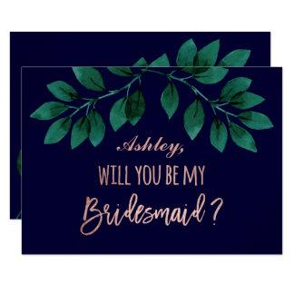 Rose gold script navy blue be my bridesmaid card