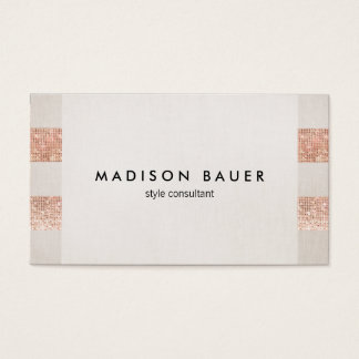 Rose Gold Sequin Beige Linen Beauty Salon Stylist Business Card