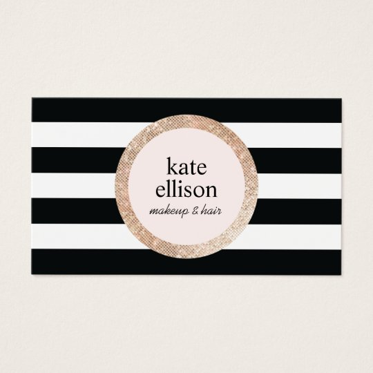 Rose Gold Sequin Black White Striped Beauty Salon