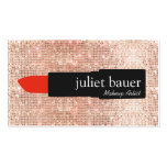 Rose Gold Sequin Makeup Artist Lipstick Beauty Pack Of Standard Business Cards