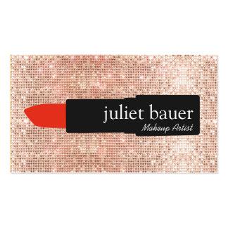 Rose Gold Sequin Modern Makeup Artist Lipstick Pack Of Standard Business Cards